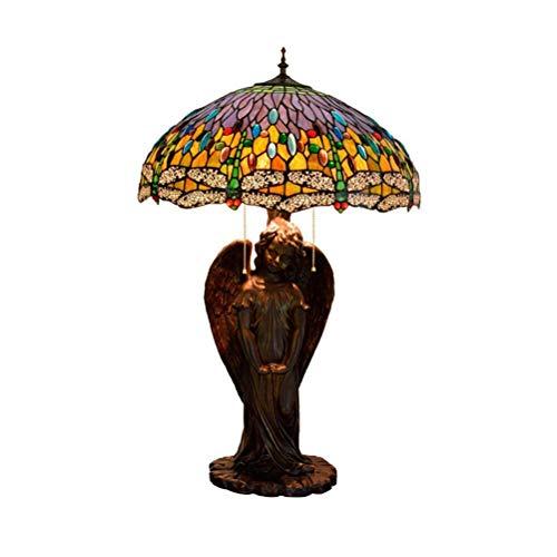 AWCVB Lámpara De Mesa Lámpara De Cama De Estilo Tiffany De Estilo Mediterráneo De Efectos De Luces Dormitorio