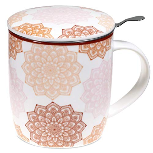 Satya Set de regalo Mug Mandala Rosa con Taza 400 cc Tapa e Infusor Inox - Porcelana Bone China
