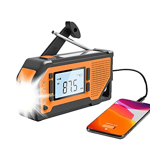 Notfall Solar Handkurbel Radio, tragbare AM/FM/WB Wetterradio Großes LCD-Display Taschenlampe SOS-Alarm Solarbetriebene 2000mAh Powerbank für Zuhause und Notfall