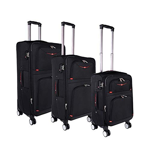 Suitcase Nested Set Scalable Column Portable Luggage Soft Shell Lightweight Silent Rotator Multi-directional Wheel For Travel Boarding Travel Luggage Case (Color : Black, Size : 20in+24in+28in)