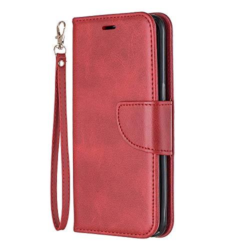 Lomogo Galaxy S8 / G950 Hülle Leder, Schutzhülle Brieftasche mit Kartenfach Klappbar Magnetverschluss Stoßfest Kratzfest Handyhülle Case für Samsung Galaxy S8 - LOBFE150206 Rot