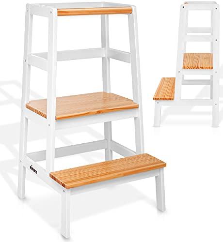 KIDUKU® Lernturm aus Holz | Kinder-Schemel für Kinder ab dem Stehalter | Lerntower für höchste Sicherheit | Learning Tower für Mädchen & Jungen (Weiß / Holz-Natur)
