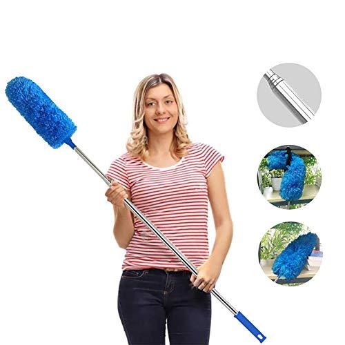 Plumero extensible de microfibra, extensible, resistente a los arañazos, lavable, limpieza de ventiladores de techo alto, persianas, telaraña