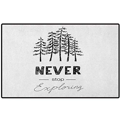 Adventure Bathroom Carpet 24x16 Motivational Never Stop Exploring Quote Typography and Trees Sketchy Vintage Entrance Front Door Rug Shoes Mat