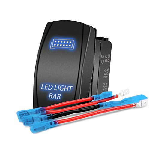 Interruptor basculante de barra de luz LED - Interruptor de botón de encendido/apagado momentáneo 4WDKING con cable de puente de 5 pines, luces LED azules 20 A 12 V.
