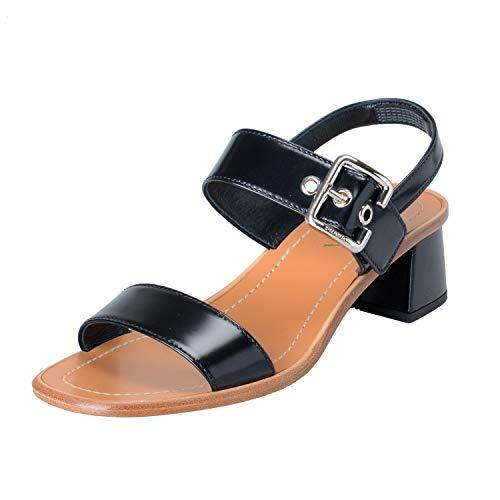 Prada Women's Black Leather Heeled Slingbacks Sandals Shoes Sz US 6 IT 36