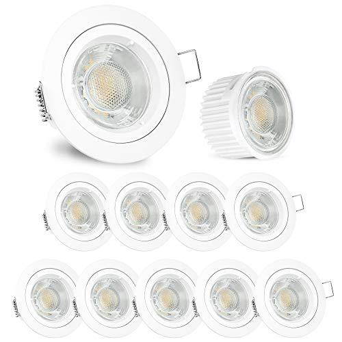 linovum® Downlight LED flach Einbaustrahler 10er Set weiß matt - runde Deckenleuchten Einbauspots inkl. LED warmweiß 5W 230V