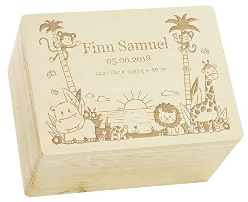 LAUBLUST Holzkiste mit Gravur - Personalisiert mit GEBURTSDATEN - Naturbelassen, Größe XL - Dschungel Motiv - Erinnerungskiste als Geschenk zur Geburt