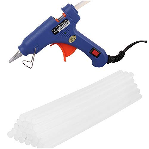 W WADRO Fiber 40 Watt on Off Switch and LED Indicator Mini Hot Melt Glue Gun with 25 Long Glue Sticks (7 mm, Blue)