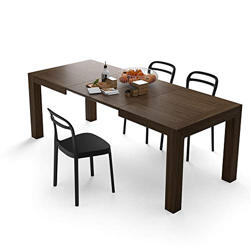 MOBILI FIVER Mobilifiver Table Extensible Cuisine, Iacopo, 140 x 90 x 77 cm, Mélaminé, Made in Italy (Noyer Canaletto)