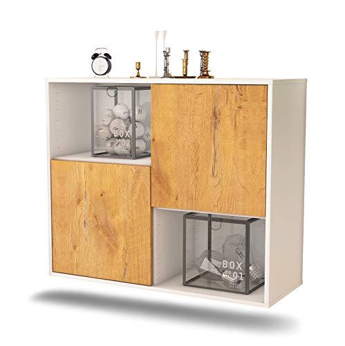 Dekati dressoir Modesto hangend (92 x 77 x 35 cm) romp wit mat   front houten design   Push-to-Open modern eiken