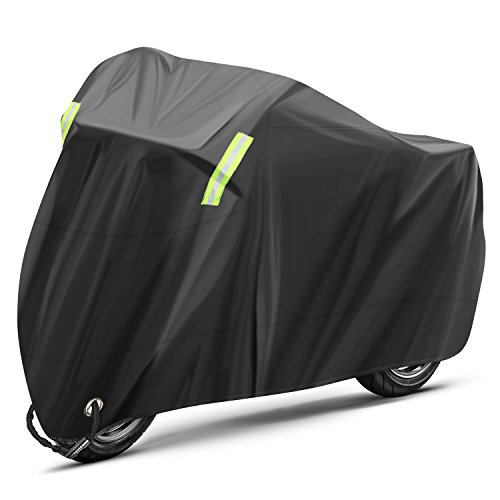 INTEY Funda Moto Tamaño XXL de 26.5 * 10.5 * 12.5 cm, Ventajas de Impermeable, Protector Solar, a Prueba de Polvo, a Prueba de Herrumbre, con Banda Reflectante