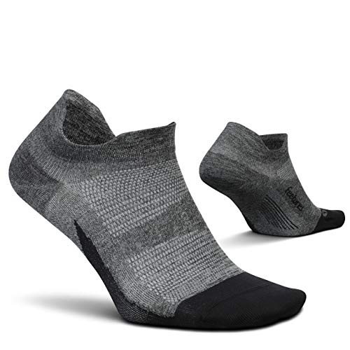 Feetures Elite Ultra Light No Show Tab Sock Solid (Large, Gray)