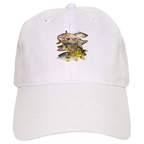 Guan_Collection All Fish Gorra de béisbol con cierre ajustable, diseño de pescado, color blanco