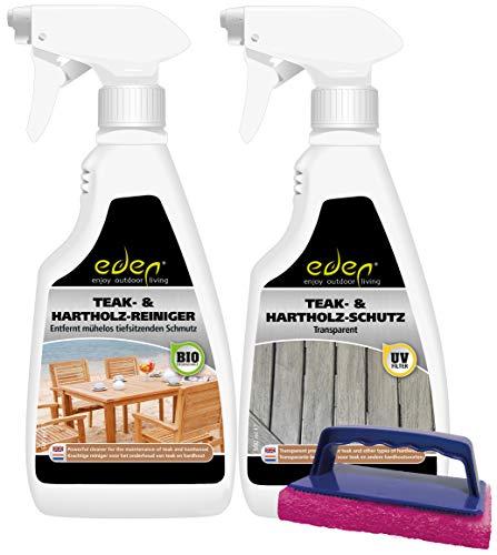 Eden Products Int. Eden Pflegekit für Harthölzern wie Teak, Robinie, Mahagoni, Buche, Eiche und Bangkirai: TRANSPARENT
