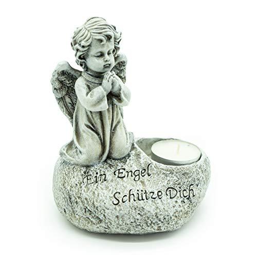 Bambelaa! Grab-Deko Grabschmuck Inschrift EIN Engel Schütze Dich Kerzenhalter Wetterfest Steinharz Ca. 13 x 10 x 15,5 cm