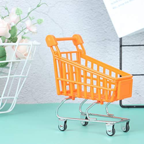 RUIYELE Carrito de la compra de la casa de muñecas 1:12, mini carrito de la compra de plástico cochecitos, carrito de mano de supermercado con cesta de almacenamiento modelo de casa de muñecas