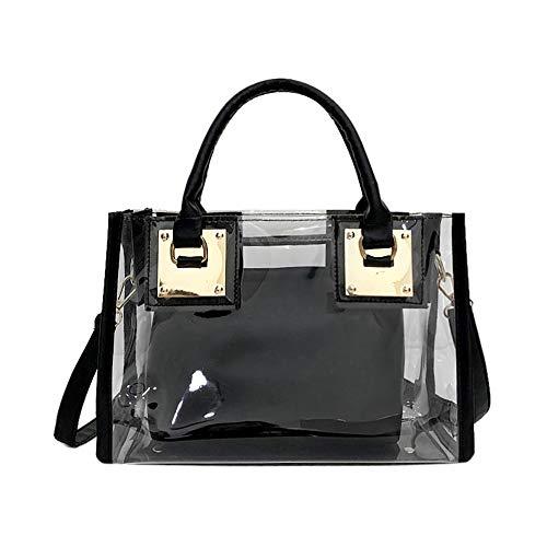 AlwaySky Damenmode Transparente Tasche 2 in 1 Handtasche Top Griff Tote Schulter Crossbody Tasche Schwarz