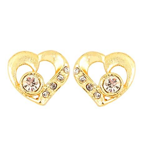 Touchstone estaño chapado en oro en forma de corazón hermoso pendientes para las mujeres