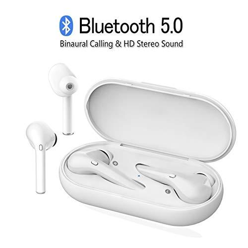 Cascos Bluetooth inalambricos, Auriculares inalámbricos Bluetooth 5.0, Mini Deportivos Estéreo Auriculares Sin Cable con micrófono y Caja de Carga/para Samsung iPhone Huawei Sony HTC MI