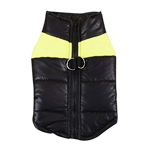 Savlot hondenjas, vest voor honden, warm, winddicht, ski, katoen, gevoerd, zonder mouwen, dik sweatshirt, welpe, mantel, hondenmantel, S, Geel.