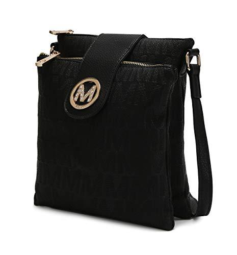 MKF Crossbody Bags for women – Cross body Strap, Messenger Purse – PU Leather Handbag, Womens Fashion Pocketbook Black