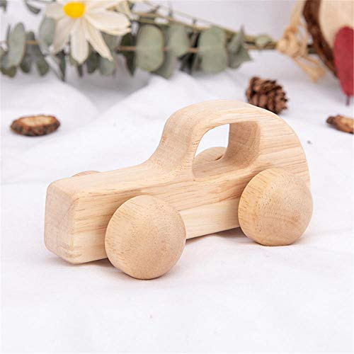 FSKJ Wooden Toy Car Movable Truck Vehicles, Hand Push Cars Toy for Baby Kids Toddler, Baby Educational Toy Training Car - Smooth Edge Best Gift-I