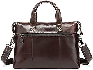 FYXKGLan Genuine Leather Men's Bag Leisure Business Document Bag Head Layer Leather Single Shoulder Handbag (Color : Brown)