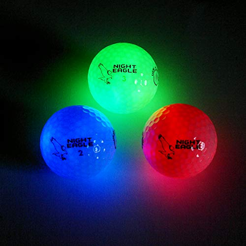 Night Eagle 3 Golfbälle Bunt Light-Up LED - Nachtgolf Crossgolf leuchten Rot Blau Grün Fun Sport Lustig Golf Geschenk