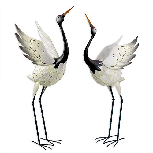 Bits and Pieces - Red-Crowned Cranes - Metal Garden Sculpture Set - 2 Cranes - Perfect for Home and Garden