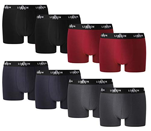 FM London Fitted Boxer, Azul (Dark Assorted 03), Large (Pack de 8) para Hombre