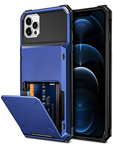 Vofolen Compatible with iPhone 12 Pro Max Case 5G Wallet 4-Card Slot Credit Card Holder Flip Hidden Pocket Dual Layer Hybrid TPU Bumper Armor Protective Hard Shell Back Cover Navy