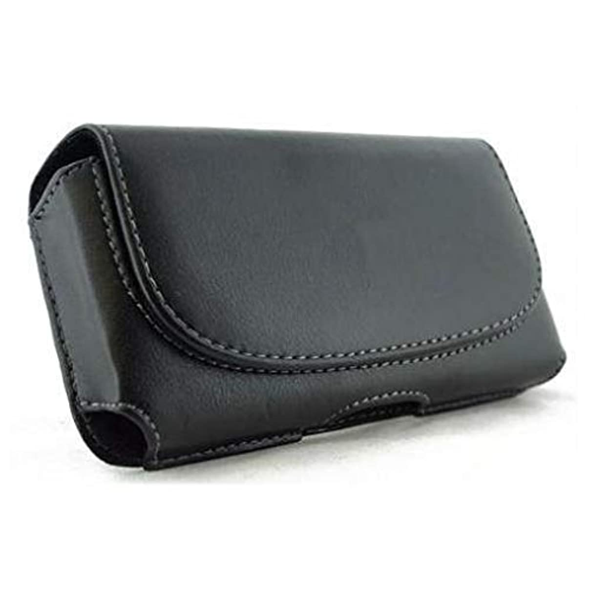 Black Leather Phone Case Cover Pouch Belt Clip Loops Compatible with Verizon HTC Droid Incredible 2 - Verizon LG Exalt LTE - Verizon Motorola Droid 3