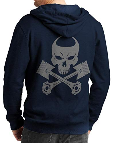 Rebel on Wheels Herren Zip Hoodie Sweat-Jacke mit Kapuze Kapuzen-Jacke Winter mit Motiv Bedruckt Totenkopf Skull Biker Motorrad Piston Punisher Blau 2XL