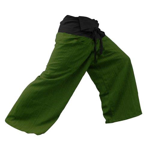 kittiya 2 TONE Thai Fisherman Pants Yoga Trousers FREE SIZE Plus Size Cotton Drill Striped Charcoal and Green