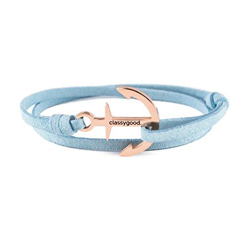 classygood. Anker Armband Classy Bracelet Edelstahl Silber & roségold, Leder-Band hellblau für Damen/Herren (Roségold)