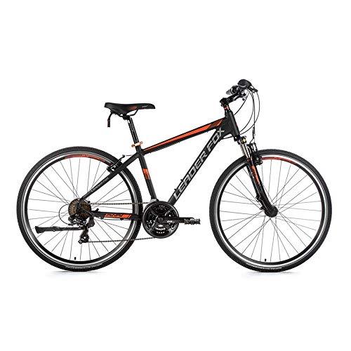 28 Zoll Alu Leader Fox Away Cross MTB Herren Fahrrad Mountain Bike schwarz orange RH 44