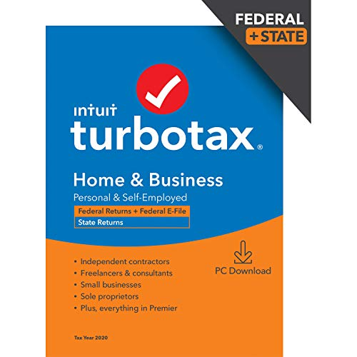 TurboTax Home & Business Desktop 2020 Tax Software, Federal and State Returns + Federal E-file [Amazon Exclusive] [PC Download]