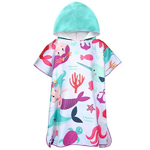 Tacobear Toalla Poncho para Infantil Toalla de Playa con Capucha de Dibujos Animados de Microfibra Albornoz con Capucha de Secado Rápido Baño Ducha Piscina para Niños Niñas(Multicolor-Sirena)