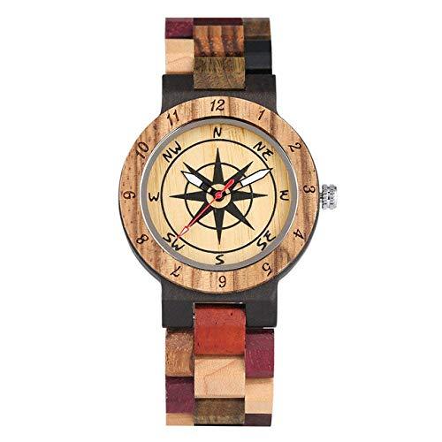 DZNOY Reloj de Madera Reloj de Madera Relojes de Madera para Hombres Correa Colorida Reloj de Pulsera de Madera con punteros Luminosa Reloj de Bolsillo (Color : Colorful 1)