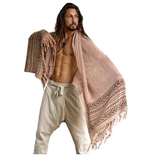 BREEZE roze handgeweven katoenen sjaal sarong dreads haarband natuurlijk geverfd wrap blok gedrukt ademend Festival Gypsy Tribal Savage AJJAYA