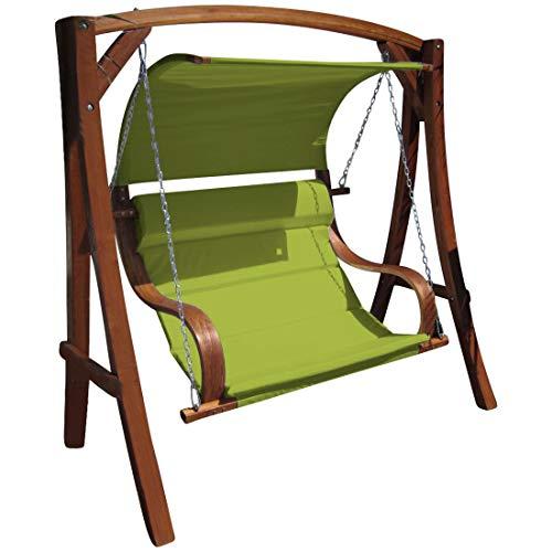 Diseño oscilación del jardín porche columpio hamaca modelo de alerce madera: HM101 'MERU' de AS-S, Farbe:Grün