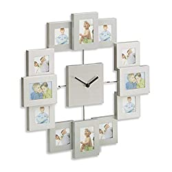 Relaxdays Wall Clock with Picture Frames, Photo Clock for DIY Pictures, HxWxD: 35 x 35 x 4 cm, Silver