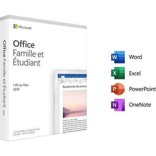 Microsoft Office Famille et Etudiant 2019 - 1 PC ou Mac - achat définitif (envoi par la poste)
