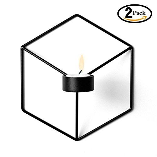 2 Stück Wand-Kerzenhalter aus Metall 21 x 12 x 18.5 cm,3D Geometrische Wand Kerzen Halter Leuchter Kerzenhalter Kerzenleuchter