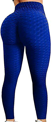 Booty Yoga Pants Women,High Waisted Ruched Butt Lift Textured Scrunch Tummy Control Slimming Leggings Workout Tights(Royal Blue,L)