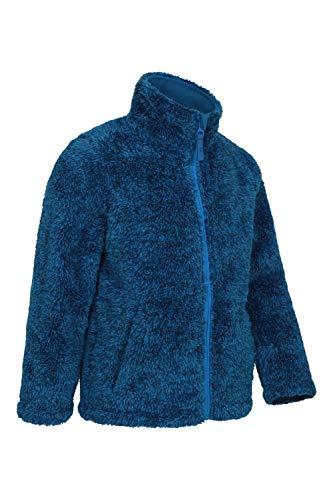 Mountain Warehouse Yeti Kinder-Fleece-Jacke mit durchgängigem Reißverschluss - Leichter, pflegeleichter, Warmer und kuschliger Pullover - Kinderkleidung für den Winter Marineblau 7-8 Jahre