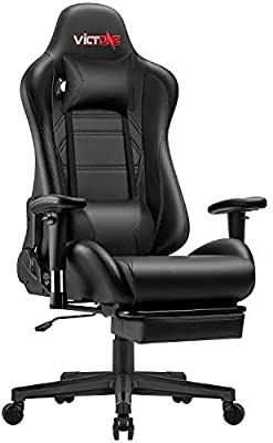 VICTONE Ergonomic Gaming Chair Computer Gaming Chair Reclining Racing Style Office Chair with Footrest Large Size High Back Game Chair for E-Sport Gaming Desk Chair with Headrest and Lumbar Support