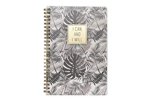 Caderno A5 Espiral com Capa Pp Coleção Time Lapse - I Can and I Will - Floral Cinza Miolo. 160 Páginas, 80G/M², Pautado, Branco, SL-NB0006