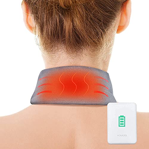 Neck Heating Pad, AKASO Heated Neck Wrap for Neck Pain Relief, Electric Heating Pad with 5000mAh Power Bank, Cordless Thermal Neck Brace with Auto Shut Off for Stiffness Relief(Grey)